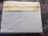 In Pkg Ralph lauren Lace White King Size Bedskirt 100% Cotton Msrp $142