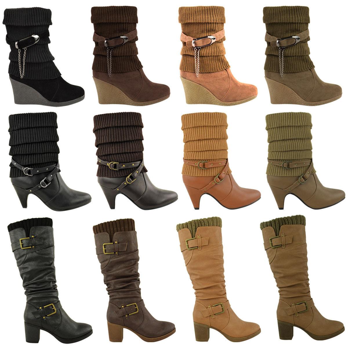 LADIES femmes MID CALF KNEE HIGH HEEL WINTER ANKLE SOCK bottes BIKER chaussures Taille