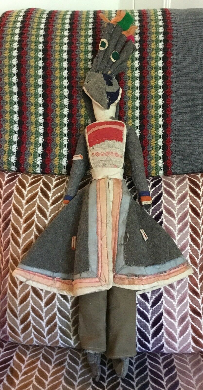 Old Vintage Handmade Large Naive Folk Art Buenos Aires Masked Rag Cloth Doll