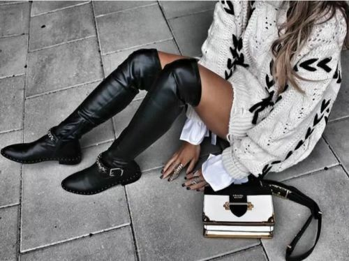 Zara Black Flat Over-Knee-Knee Boots with Chain Detail Size 39,40