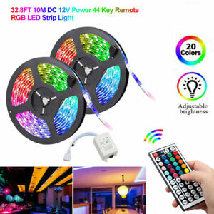 32FT Flexible 5050 RGB SMD LED Strip Light Tape Fairy Light Party Bar w// Remote