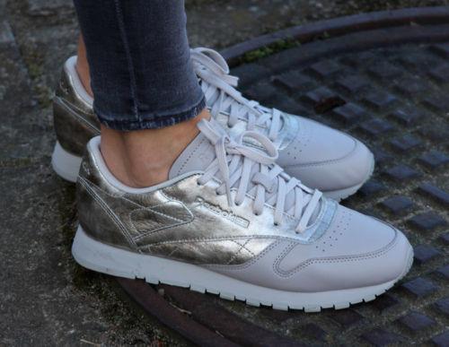 deporte para gris de mujer Zapatillas cuero Reebok plateadas clásico Classics en q415Ww7Cx