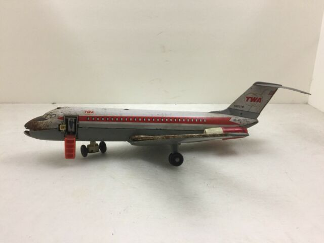 T.N Nomura Battery-Operated Toy TWA DC-9 Jet Airplane Made in Japan