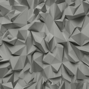 Image Is Loading 3D Triangles Futuristic Metallic Grey Silver Vinyl Wallpaper