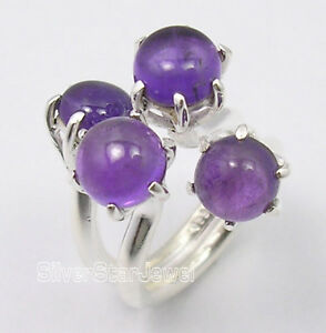 925-Pure-Silver-Original-PURPLE-AMETHYST-4-Cabochon-Stone-UNUSUAL-Ring-Any-Size