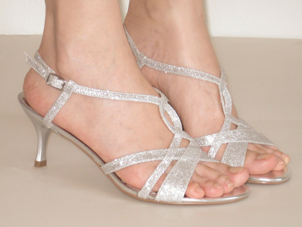 New Sandals Womens Medium Heel Slingback Sandals New Silver Glitter ad9ce0