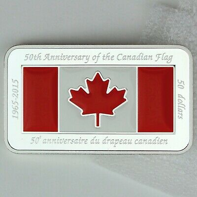 2015 $50 Fine Silver 50th Anniversary of The Canadian Flag