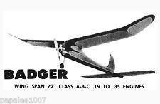"Model Airplane Plans (FF): Vintage Kenhi BADGER 72""ws A-B-C (1954)"
