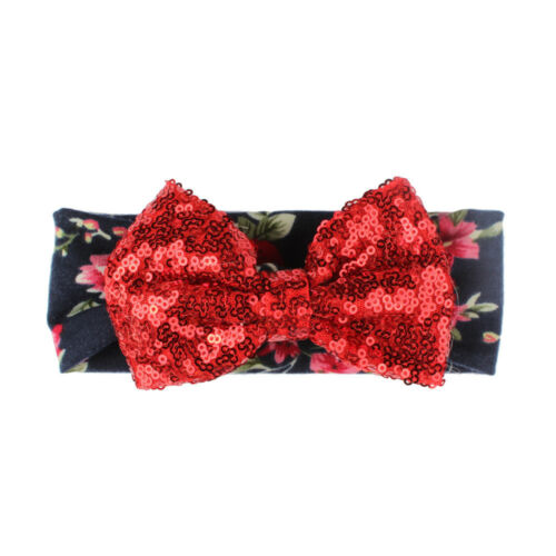 Newborn Baby Girls Kids Rabbit Bow Hairband Turban Sequins Headband Head Wraps