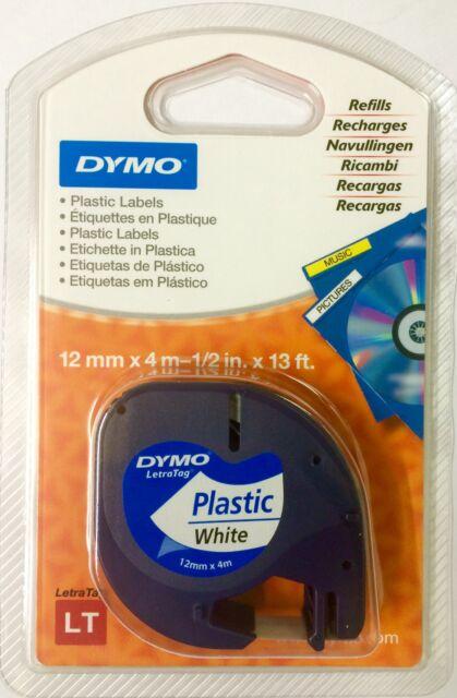 Dymo LetraTag Tape 12mm Plastic Black on White S0721610 - 91201 Original Genuine