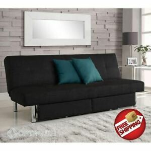 Details About Convertible Futon Couch Sofa Bed Sleeper Microfiber Living Room Storage Black