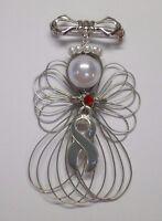 Diabetes Awareness Ribbon Angel Pin Brooch Handmade