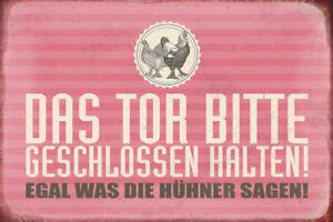 Das-Huehner-Tor-geschlossen-halten-Blechschild-Schild-gewoelbt-Tin-Sign-20-x-30-cm
