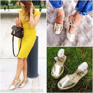 Zara Or Lacet Espadrilles Chaussures Plates UK4 EUR37 US6.5