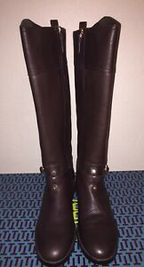 020ab5f7e055 NIB  495 Tory Burch Marlene Coconut Brown Leather Riding Boots size ...
