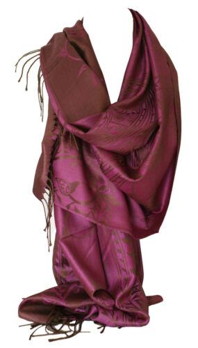 PASHMINA reversibile a due lati SENTO intricata Floreale SPIRALI Design Sciarpa Scialle