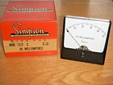 "Vintage Simpson Model 1347 Panel Meter Wide Vu Meter ""A"" Scale (-20 to +3) - NOS"