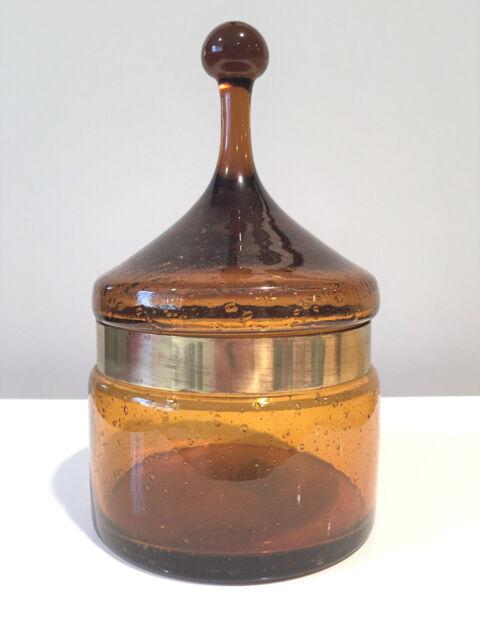 Raymor Carlo Moretti Empoli Murano Italy Covered Glass Jar w Original Label