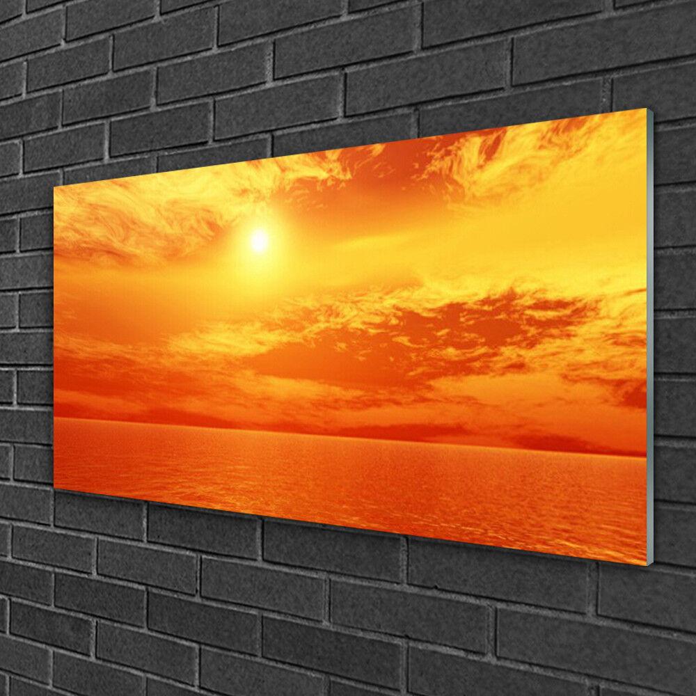 Glass print Wall art 100x50 Image Picture Sun Sea Landscape