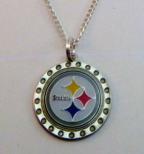 Pittsburgh steelers rhinestone crystal logo charm necklace for Sell gold jewelry seattle