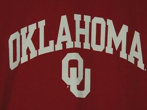 Oklahoma-University-Champion-Mens-Size-XL-Extra-Large-Red-Short-Slv-Shirt-NEW
