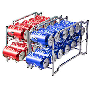 2-Pack-Beverage-Can-Dispenser-Stackable-Soda-Can-Rack-Organizer-for-12-Cans-Each