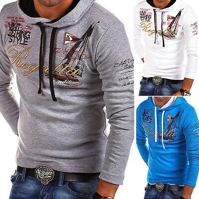 G.B.D. Pullover Kapuzenpullover Hoodie Schwarz/Weiss/Blau Longsleeve T-Shirt NEU
