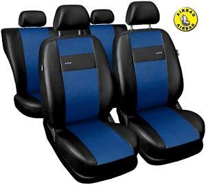 Car-seat-covers-fit-Mazda-323F-black-blue-leatherette-full-set