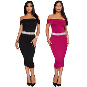 Sexy-Glittering-Waistband-Foldover-Off-Shoulder-Curve-Hugging-Bodycon-Midi-Dress