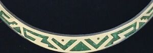 Sterling-Necklace-Choker-Collar-Malachite-Chip-Inlay-Mexico-Taxco-925-62-4-grams