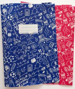 Heftschoner-A4-Schoolydoo-Pink-Blau-Schulheft-Umschlag-im-Set-zu-je-2-Stueck