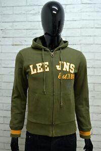 Felpa-Uomo-LEE-Taglia-S-Maglione-Sweater-Pullover-Cardigan-Verde-Cappuccio-Zip