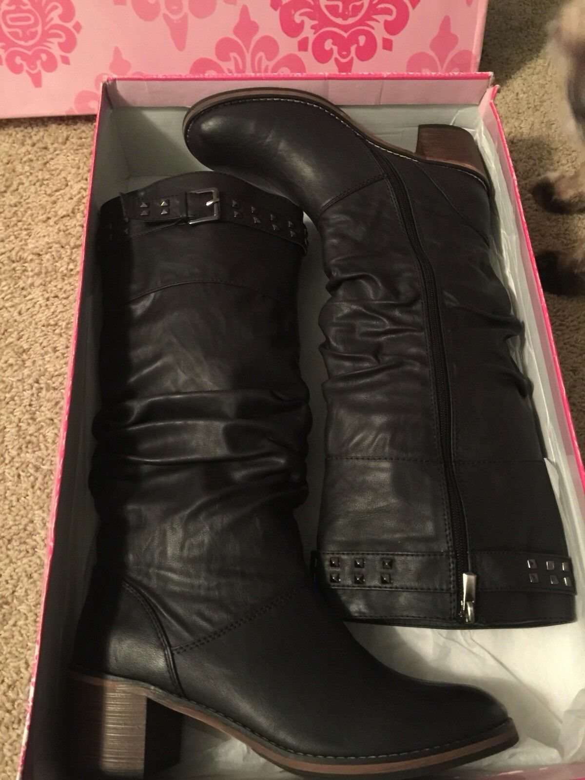 Studded Black Boots Brand New-Hass
