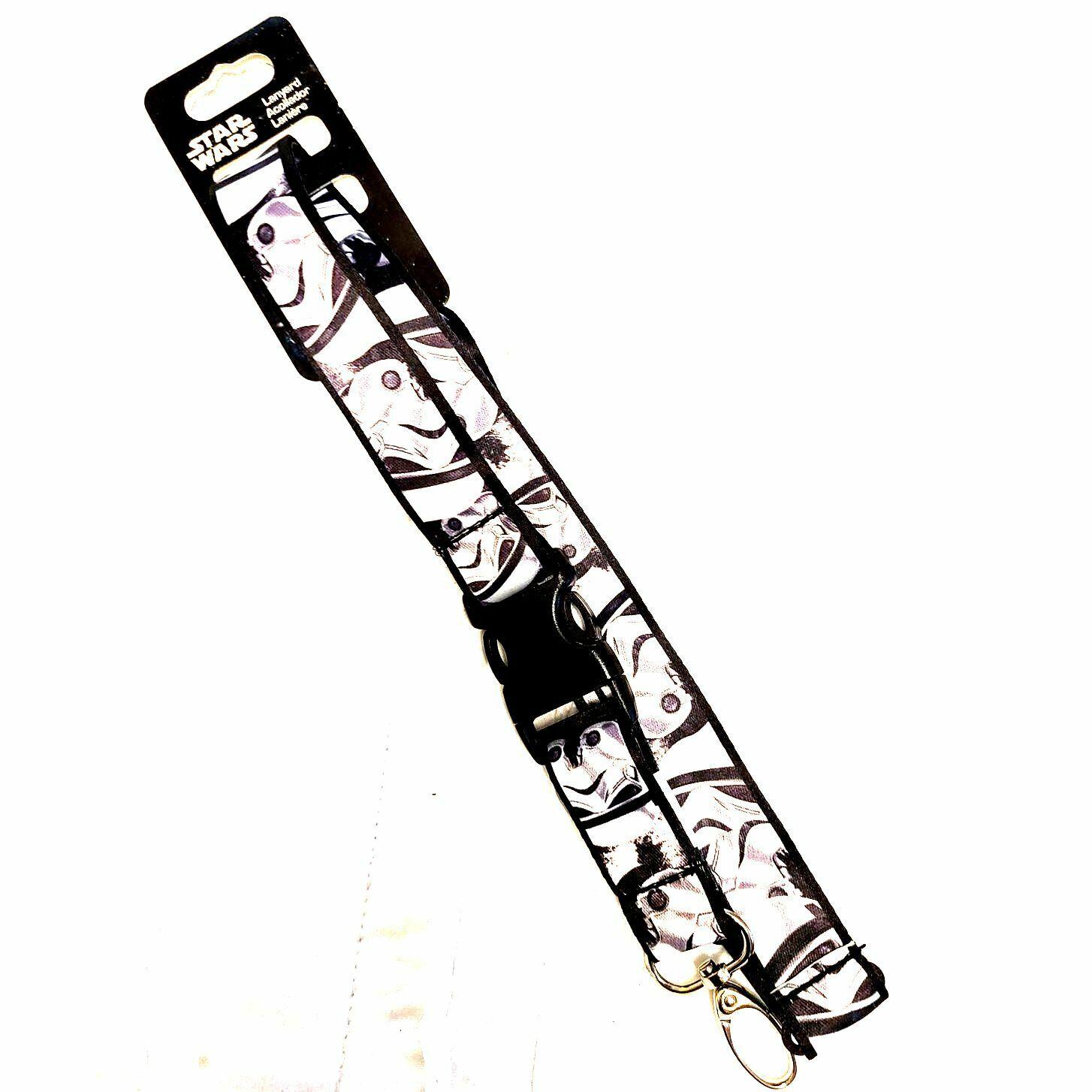 NWT Star Wars Lanyard Acollador black white key chain STORMTROOPER 231.2