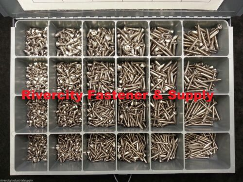 Phillips Oval Head Sheet Metal Screw Assortment Kit 18-8 Stainless 1540 pieces