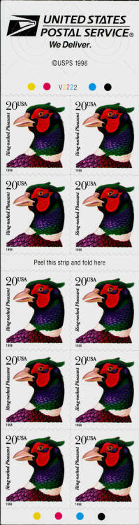 1996 20c Ring-necked Pheasant, Mint Booklet Pane of 10