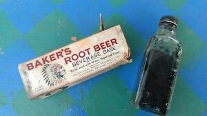 ⭐ VINTAGE BAKERS INDIAN ROOT BEER 3 oz. BOTTLE W/BOX SHIPS FREE 😃