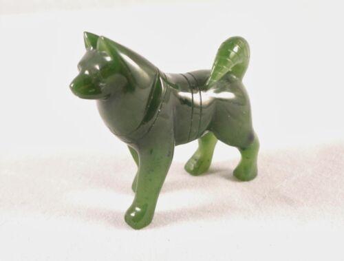 "2/"" Canadian Gem Grade Jade Carved Husky Dog Figurine Display"