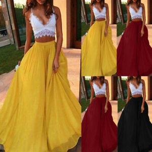 96fdd81ed Image is loading Women-Maxi-Skirt-Double-Layer-Chiffon-Pleated-Long-