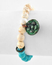 Boutique Design Turquoise Beige Bead Green Flower Charm Stretch Bracelet NWT