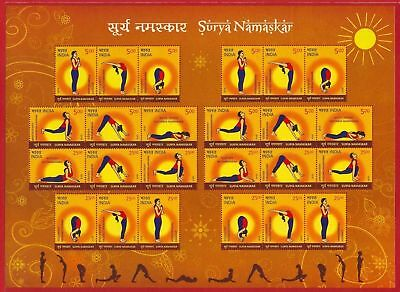 india 2016 surya namaskar yoga health fitness sheetlet of