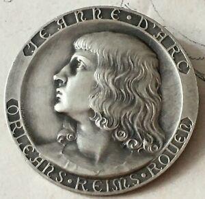 Broche-Medaille-JEANNE-D-039-ARC-ORLEANS-REIMS-ROUEN-bronze-PRUD-039-HOMME-Brooch-50-mm