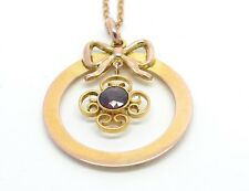 Beautiful Edwardian 9ct Rose Gold Garnet Bow Pendant Necklace