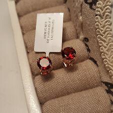 Hermoso Granate Mozambique Stud Pendientes en Rosa oro sobre plata esterlina
