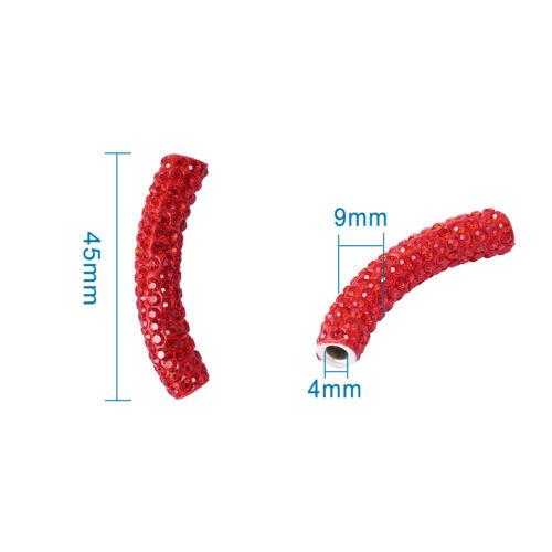 10pcs laiton Moyen-Orient strass courbé Tube perles grand trou Espaceur 45x9mm