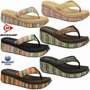Ladies-Memory-Foam-Wedge-Heel-Walking-Fit-Flip-Flops-Fitness-Toning-Sandals-Shoe