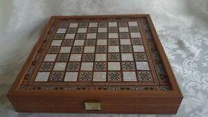 Schachspiel-Schachbrett-Manopoulos-griechische-romische-Figuren-Handgefertigt