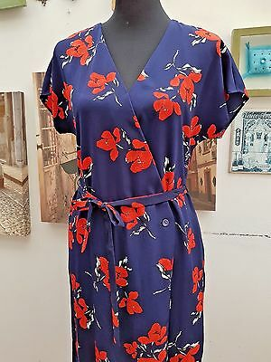 Ladies Red Poppy Print Wrap Neck Mid Length Summer or Beach Dress  Size 8-22