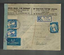 1949 Tel Aviv Israel Cover to Switzerland Censored Orthodox Settlers Company