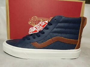 9d882ae098 New Vans Sk8 Hi Reissue Zip Leather Perf Dress Blue Brown White Shoe ...